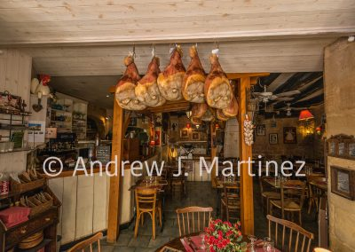 Hams in restaurant.