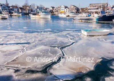 Rockport harbor in winter